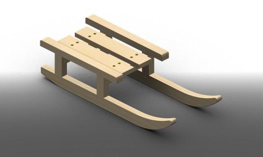 luge traineau en bois
