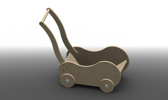 chariot - landau en bois